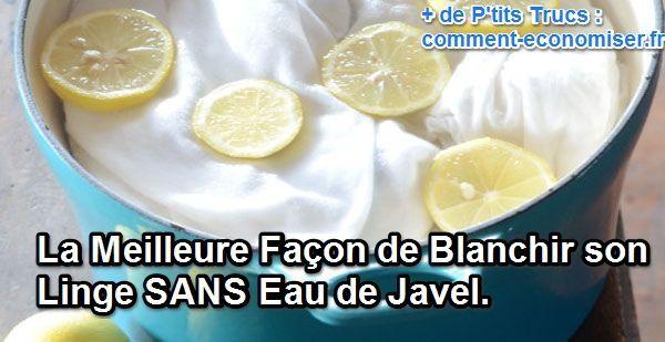 On pense tout de suite à la Javel, mais c'est un produit chimique et dangereux. C'est avec du citron que nous allons blanchir notre linge.  Découvrez l'astuce ici : http://www.comment-economiser.fr/blanchir-linge-sans-javel.html?utm_content=buffercab88&utm_medium=social&utm_source=pinterest.com&utm_campaign=buffer