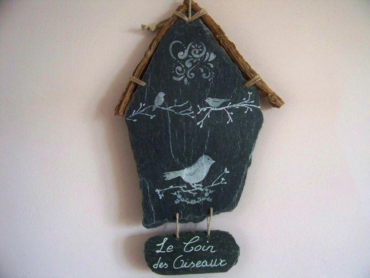 Décoration jardin-Suspension en ardoise naturelle pour le jardin-Oiseaux- : Accessoires de maison par troglodyte-mignon