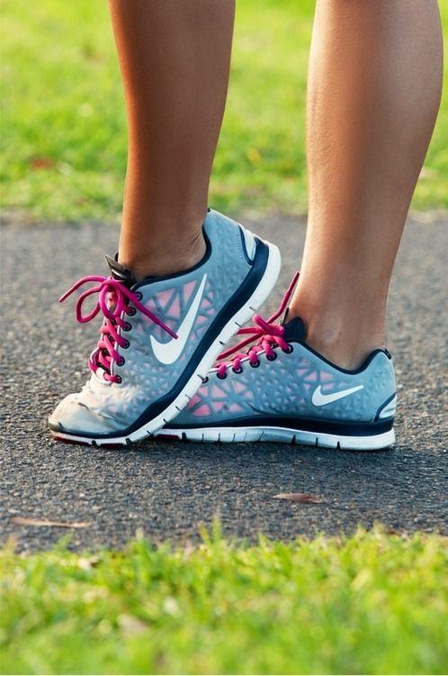 Nike running shoes, pink, white, grey