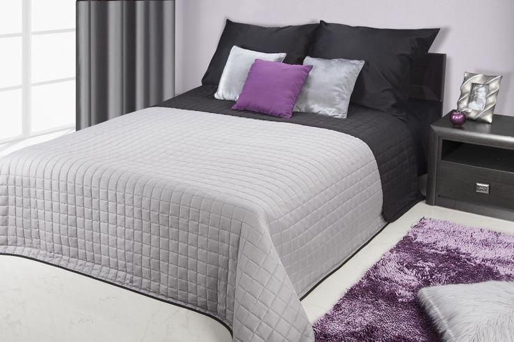 Stalowo czarne dwustronne narzuty i kapy na łóżko
