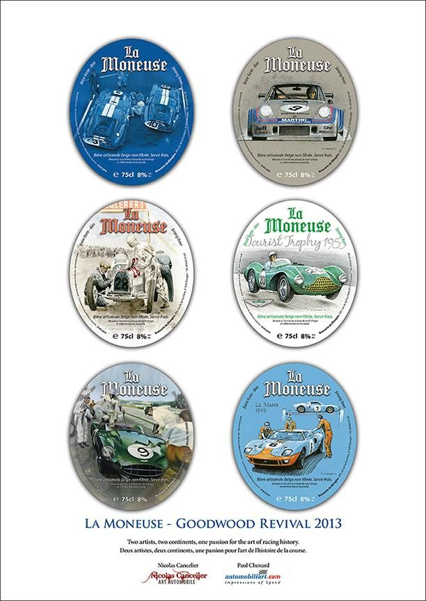 "Goodwood Revival 2013 ""La Moneuse"" beer labels poster 11.75""x 16.5"" $15 CDN each plus shipping/fees"