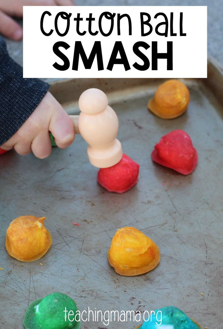 Cotton Ball Smash - such a fun activity! Great for hand-eye coordination and fine motor skills!