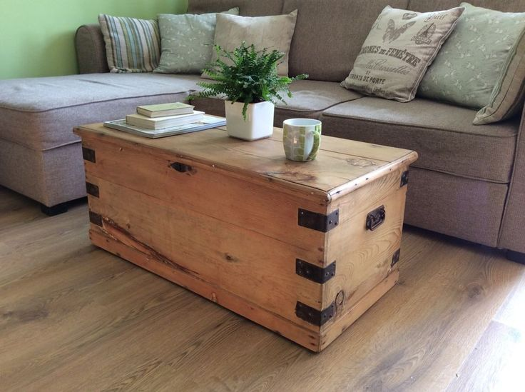 Old Pine Trunk Chest Coffee Table Storage Box Vintage Diy Furniture Pinterest Trunks Pine