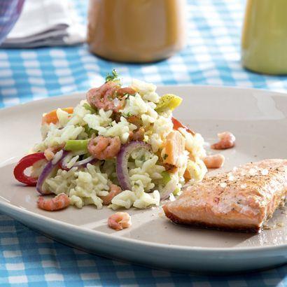 ALDI België - Recept - Gebakken zalm en risotto met garnalen en kruidenkaas