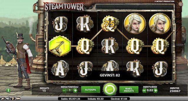 Steam Tower videospilleautomat på Unibet