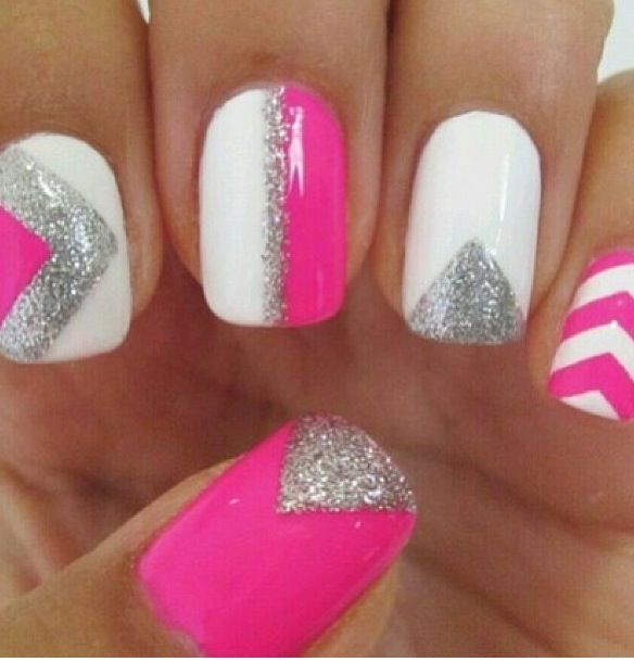 Hot pink, silver, white nails!