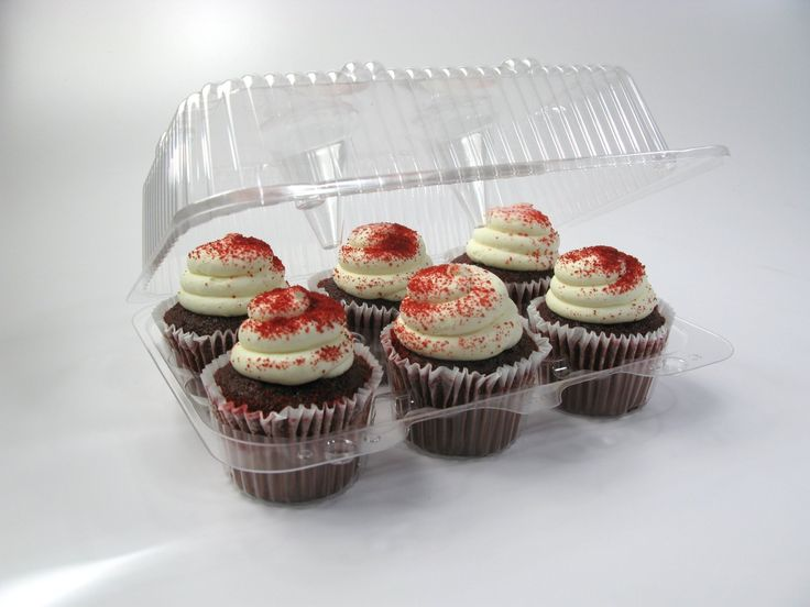 6-Cup Plastic Cupcake Container High Top Hinged - 25/Pack