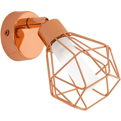 1 light LED spot light finished in copper with tubular satinated glass diffuser that is enclosed in a copper finish cage fully adjustable spotlight to produce excellent general llumination #lightingbygabrielli #spotlights #LED #copper #walllights #lightingdesign #interior #birmingham #westmidlands #lightingshop