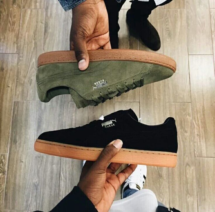 Puma Suede - kaki and black