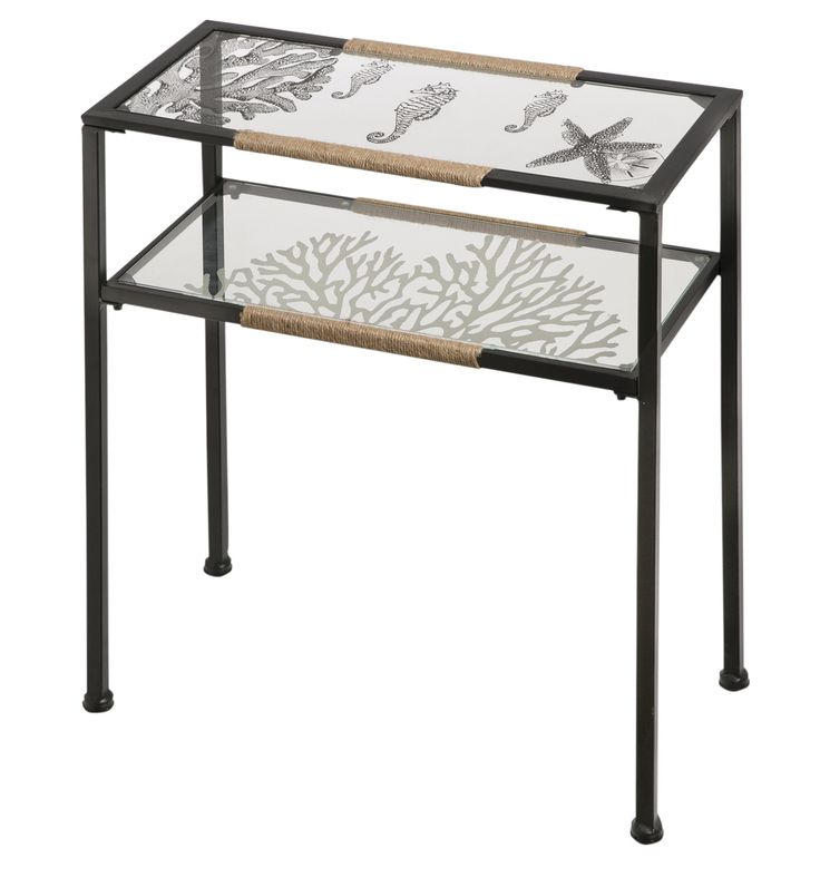 Glass and Metal Pen and Ink Sea Shell Console Table
