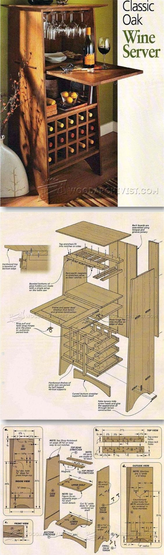 Classic Oak Wine Server Plans - Furniture Plans and Projects | WoodArchivist.com