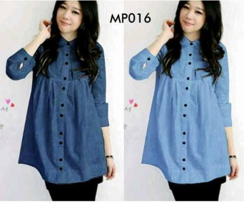 Blouse Casual Denim Button MP016  Online dan Murah - http://www.butikjingga.com/blouse-casual-denim-button-mp016