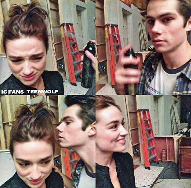 Rare documentation of an interaction between Crystal Reed and Dylan O'Brien.