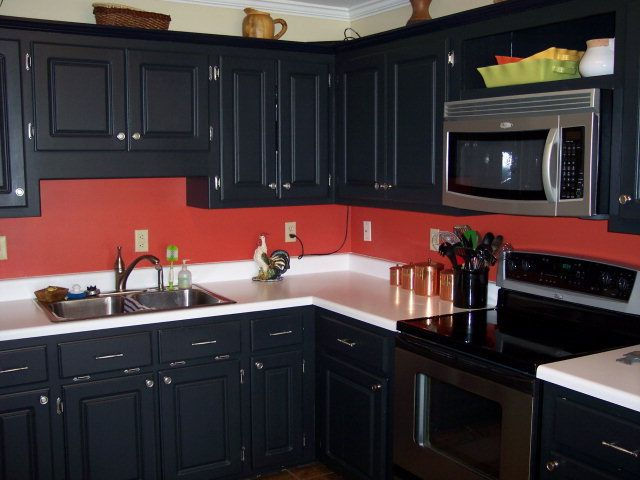 Black cabinets red walls its definitely a maybe for my for Red white and black kitchen designs