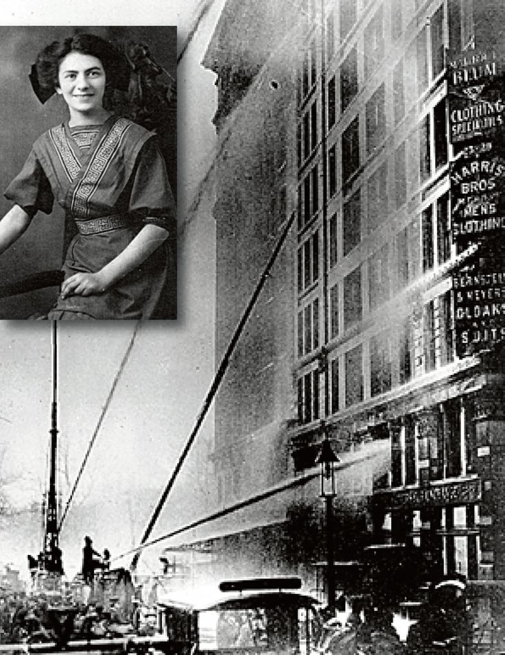 March 3, 1911: Rose Rosenfeld, seventeen (inset), survives the Triangle Shirtwaist factory fire in New York, a tragedy that takes 146 lives. Most of the victims are young, female, immigrant Jewish workers. Rosenfeld (later Freedman) speaks out against the factory executives who could have prevented the carnage and spends the rest of her life crusading for worker safety laws.