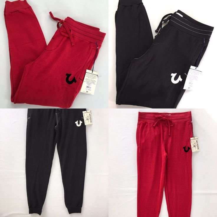 NWT $148 Men's TRUE RELIGION Jogger Sweatpants Track Red Black Tapered S,M,L,XL #TrueReligion #TracksuitsSweats