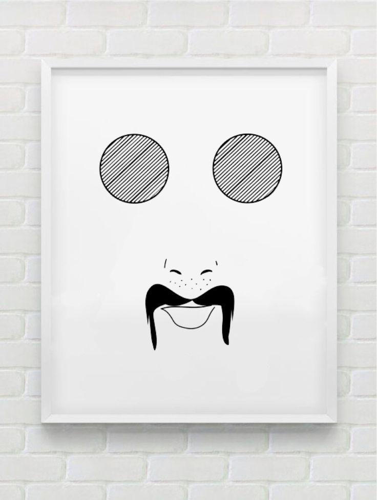 Clean Line Print - Fat Glasses Moustache Man by HHannahHHanes on Etsy  hannahchristenmichau.wix.com/hannahmichaud7