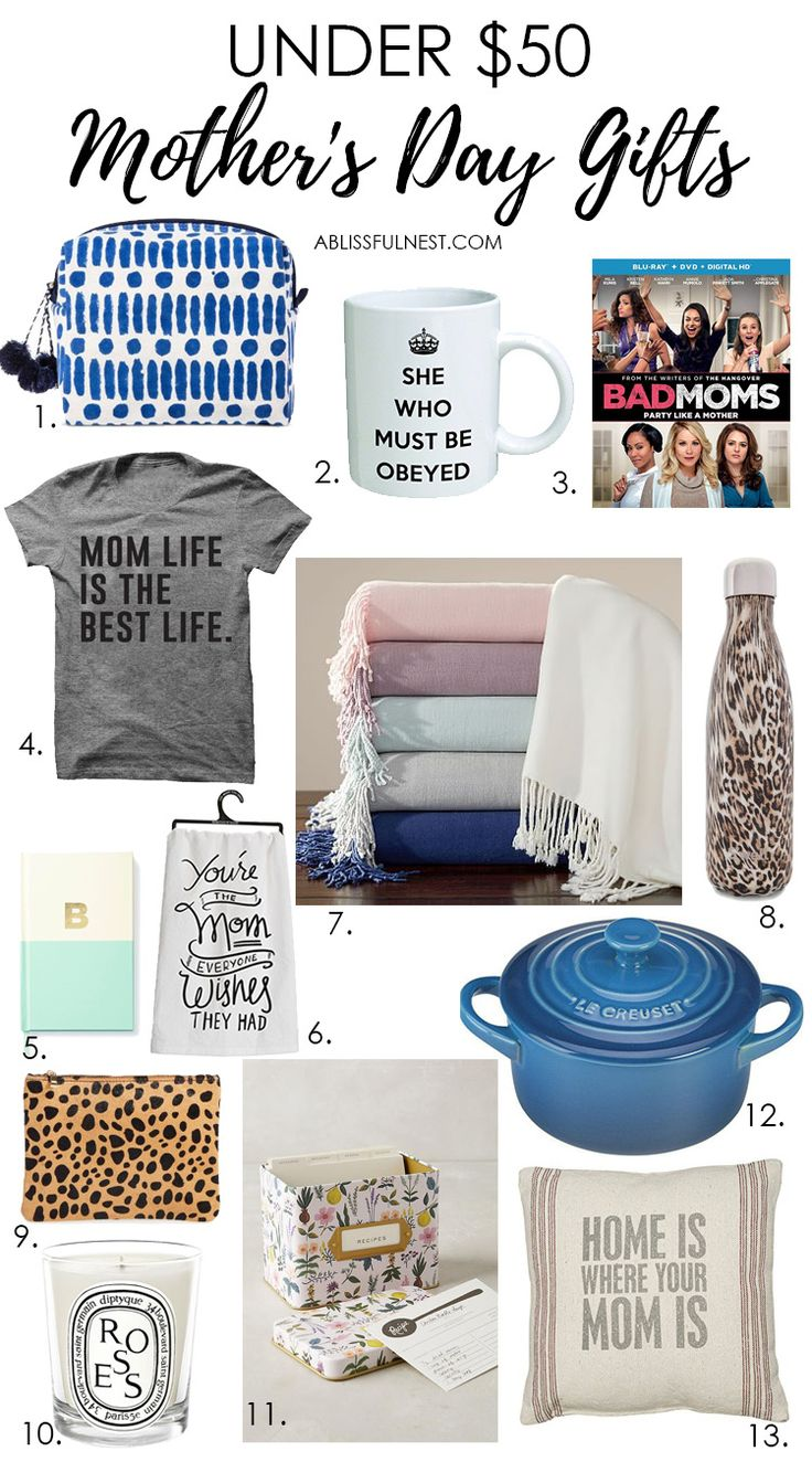 Get great Mother's Day gift ideas with this list of items all under $50! See more on https://ablissfulnest.com/ #mothersday #ABlissfulNest #InteriorDesign #Decorator #Stylist #Blissful #HappyHome #designtips #giftideas