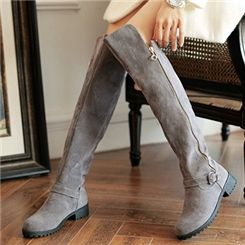 Sweet Buckle and Zipper Suede Knee-high Boots