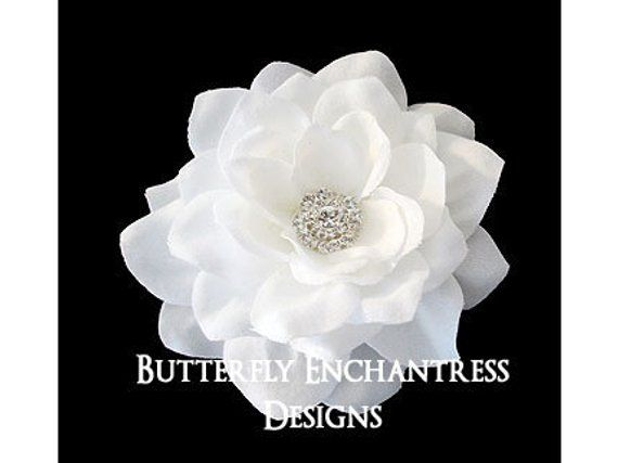 "3/"" FOAM Gardenia Flower Wedding Bridal Prom Hair CLIP Ivory White NEW"