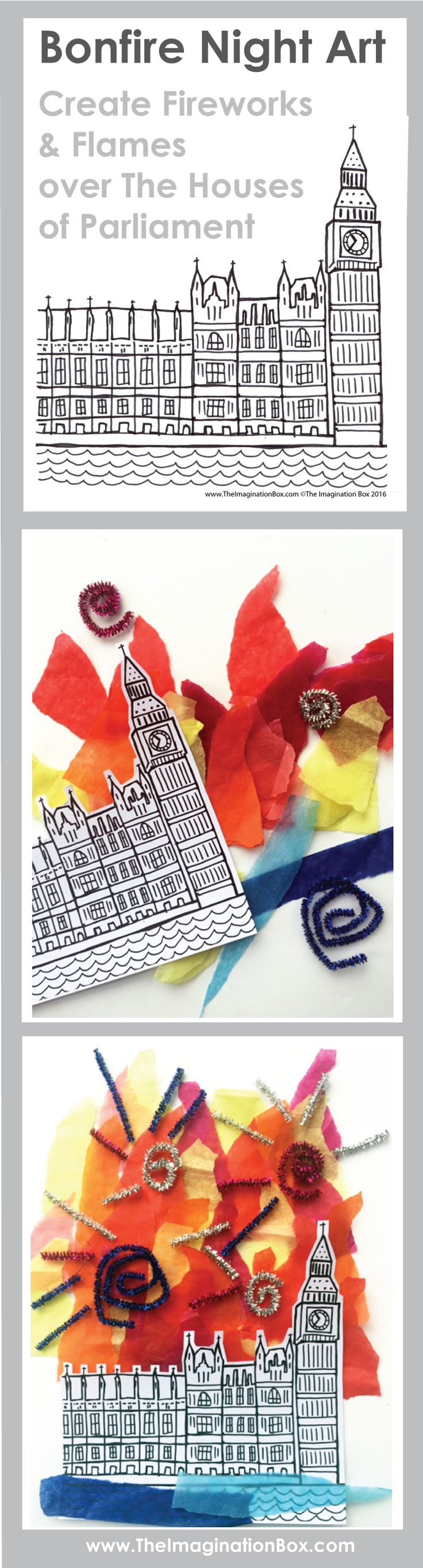 Celebrate Bonfire Night / Guy Fawkes Night / The Fifth of November. Use this quirky hand drawn template to create imaginative flames and fireworks over the London Houses of Parliament