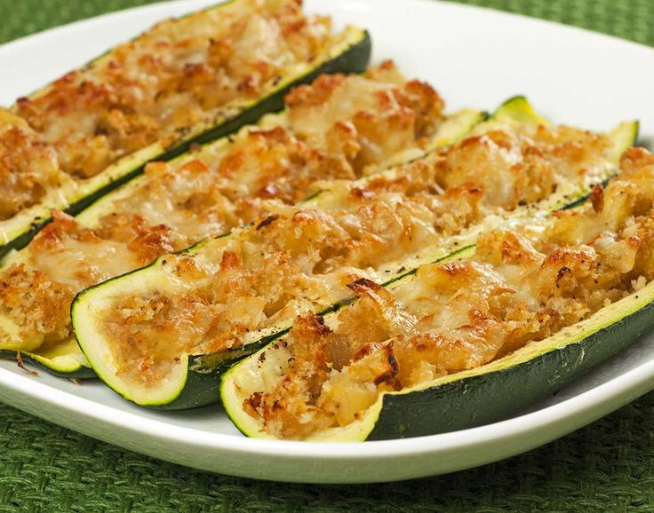 Stuffed Zucchini Boats: These hollowed out zucchini boats are stuffed with a simple mixture of sautéed sweet onion, zucchini and mozzarella cheese.