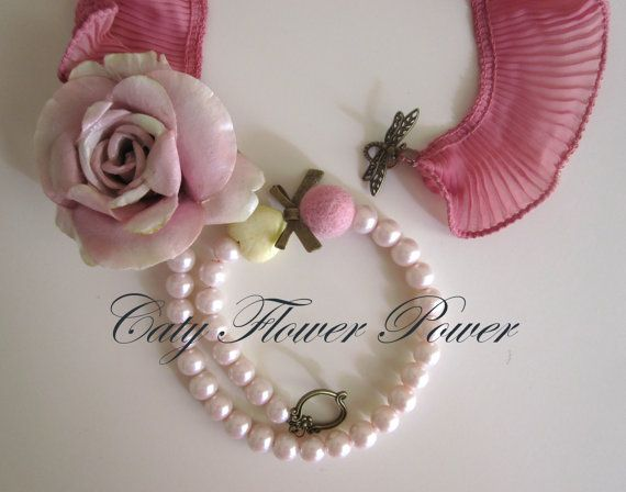 Flower Necklace Pink Rose Necklace Bridesmaids by catyflowerpower