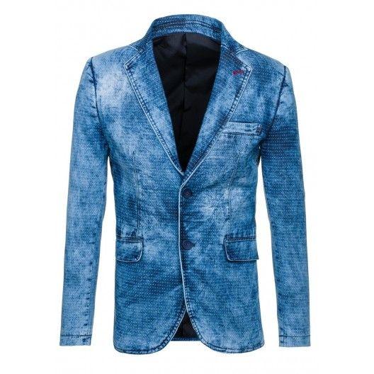Tieňovaná pánske sako džínsového vzhľadu - fashionday.eu