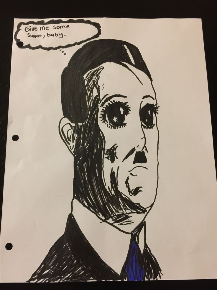 """Drawing I did for my teacher in AP World History. For a whole month he kept playing the line """"give me some sugar baby"""" and he draws names when people won't talk out a thing called the """"hitlerpotomas"""""""