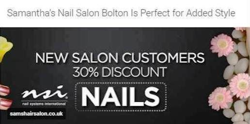 http://samshairsalon.co.uk/nail-salon/ | Nail Salon Services - Samantha's in Bolton not only offers Hair and Beauty services, we also have over very own experienced nail technicians. We have available; Acrylic Nails is an excellent choice for the ultimate papering session, or may be just in preparation for a great night out planned. The acrylic nail treatment can also be used to improve and enhance the appearance of your nails. Polish Pro is the very best and fast nail...