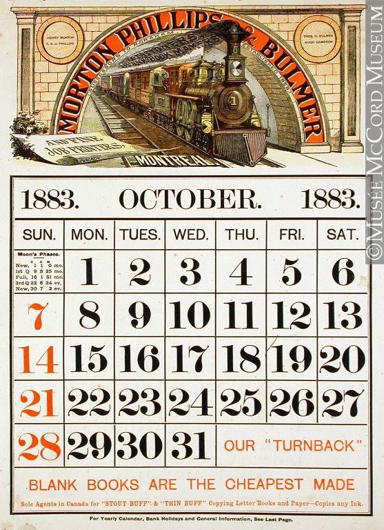 1883 advertising calendar ~ Morton, Phillips & Bulmer train.
