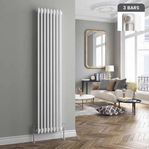 Roma Vertical Triple Column Traditional Gas Radiator in White 1800mm x 380mm…