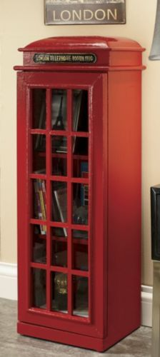 British Telephone Box Bookcase- what would be really awesome is if you had a staircase hidden in the floor underneath one of these