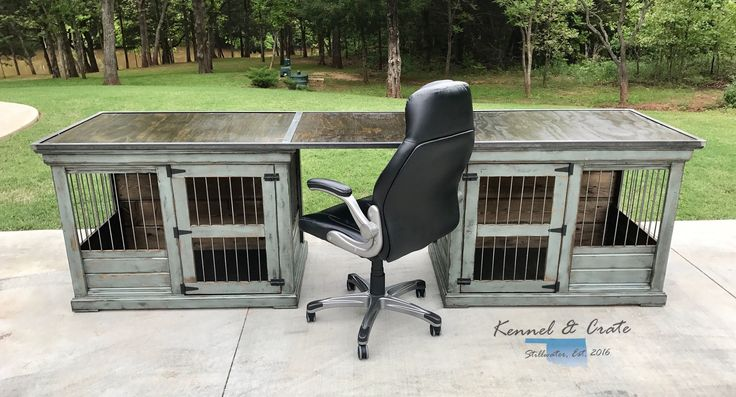 Talk about desk goals!  This farm house style dog kennel is created by two extra large single kennels with a workspace in top!  This creates a perfect desk for you and your four leggers! Create yours today with kennel and crate!  Distressed colonial blue by Pittsburgh paints!