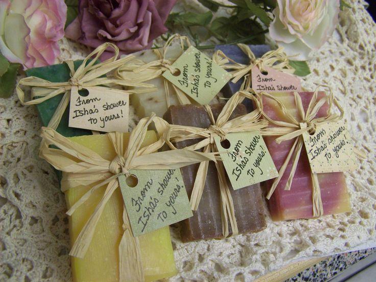 25 bridal shower favors soaps - mini soaps - Shea butter, organic, handmade soap - rustic wedding favors. $39.95, via Etsy.