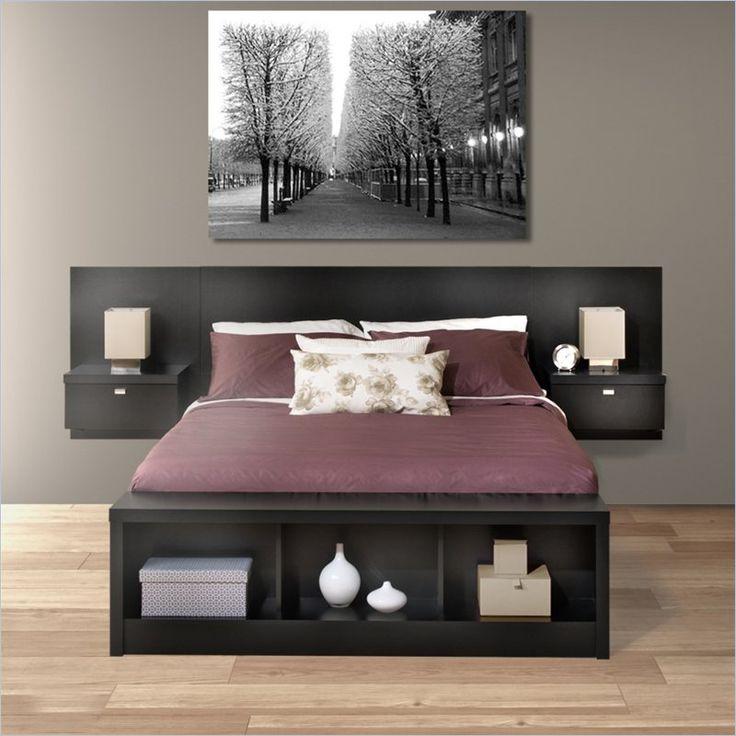 Prepac Series 9 Platform Storage Bed with Floating Headboard in Black - BBX-BHHX-BED