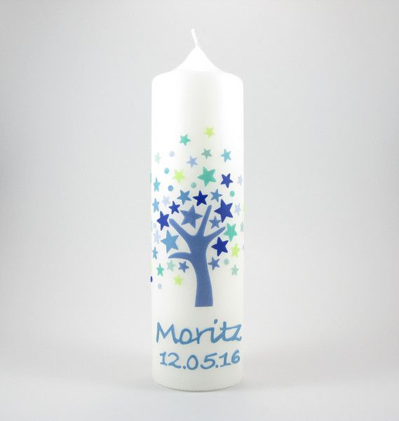 """Taufkerzen - Taufkerze """"Lebensbaum Blaue Sterne"""" - ein Designerstück von KerzenMax bei DaWanda"""