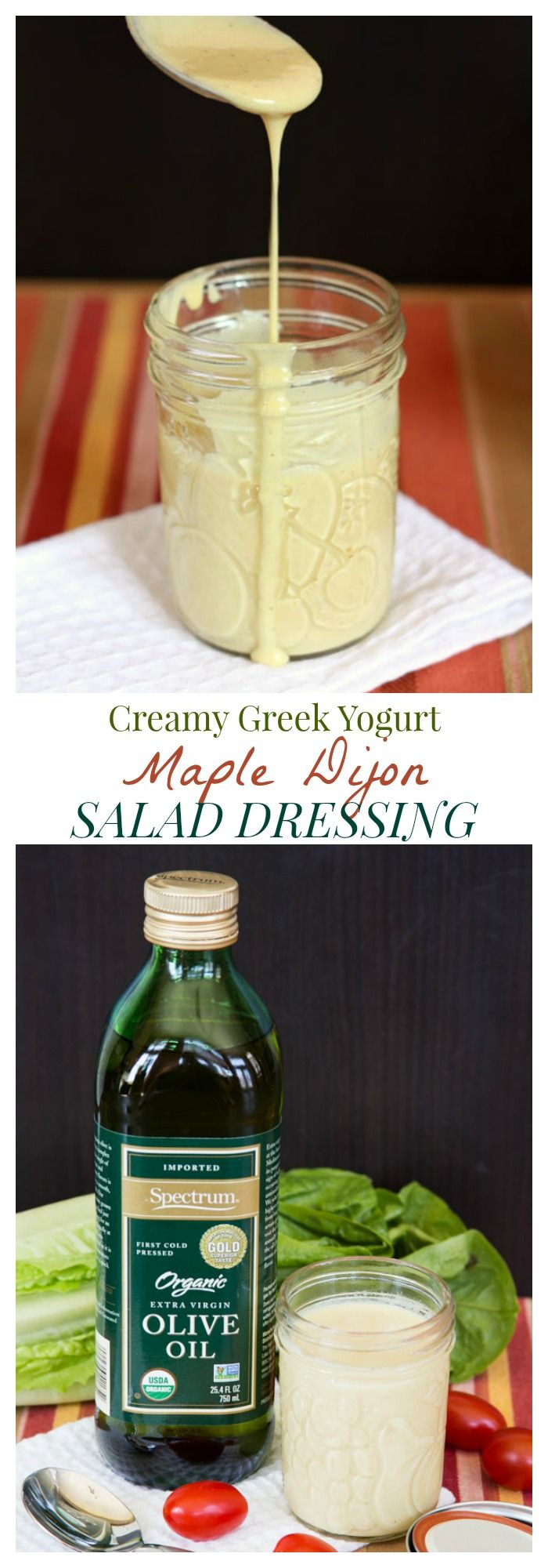 Creamy Maple Dijon Greek Yogurt Salad Dressing - it's so easy to make your own rich, creamy but still light and healthy dressing   cupcakesandkalechips.com   gluten free recipe