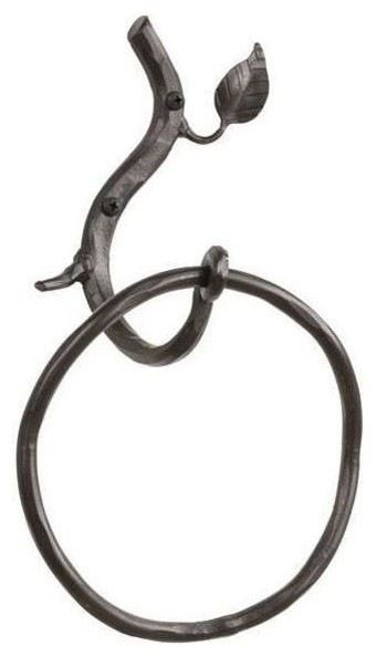 Sassafras Towel Ring (Hand Rubbed Pewter) contemporary-towel-bars-and-hooks