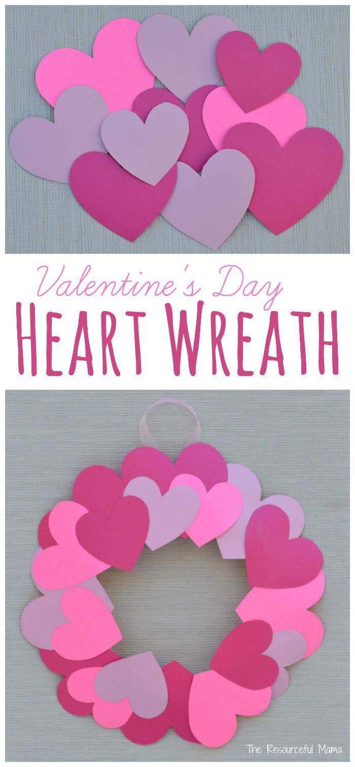 Paper Plate Valentine S Day Heart Wreath Craft Daycare Pinterest