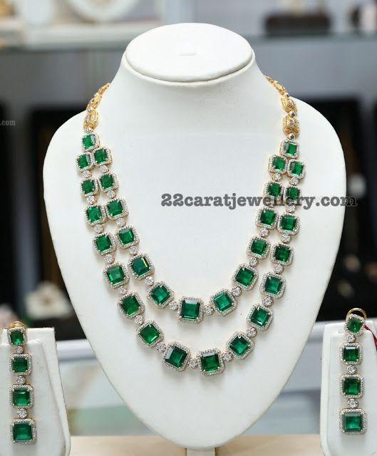Two Rows Diamond Emerald Set by Sunitha