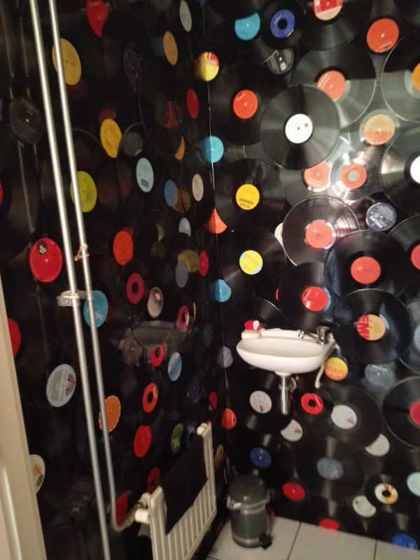 150 Vinyl Records as Wall Decoration in My Toilet
