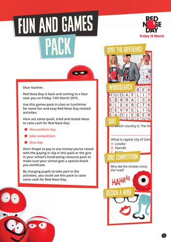 Red Nose Day 2015 Games Pack (Primary)