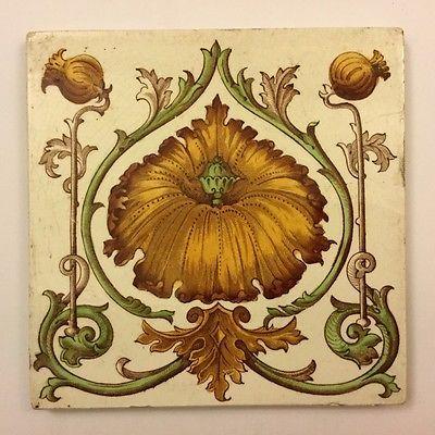 """Antique 6"""" Art Nouveau Tile, Poppy Flower & Heads"""