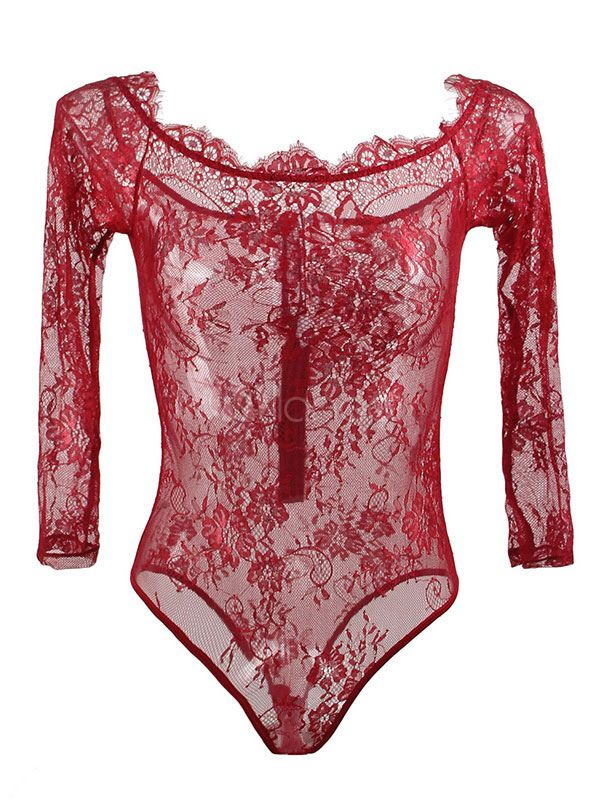 4a6a8da5e885d9 Lace Sexy Teddy Off The Shoulder Semi Sheer Lingerie For Women #Teddy, # Shoulder, #Lace