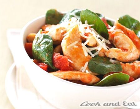 Курица с томатами и базиликом на сковороде - Экспресс блюда - Cook and Eat