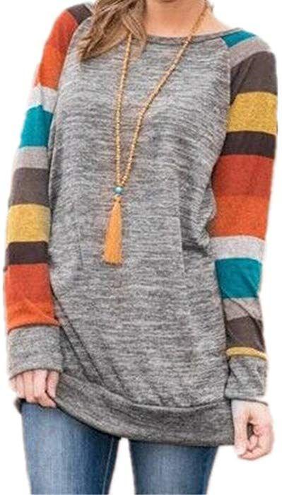 PINUPART Women s Color Block Long Sleeve Sweatshirt Cotton Jersey Tunic Tops  Yellow XXL US12-14 at Amazon Women s Clothing store  61206d776