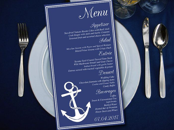 Nautical Wedding Menu Template Instant Download Printable Bliss Navy White
