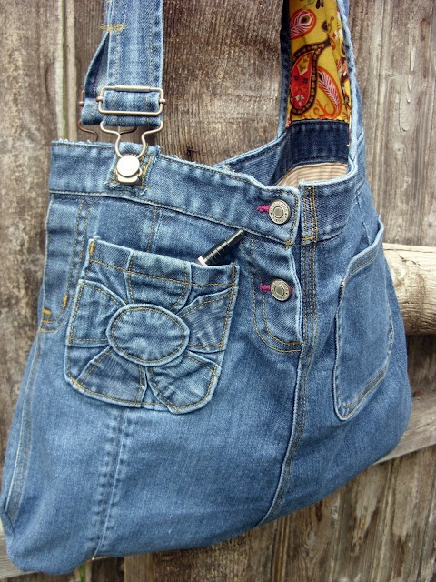 Denim purse made from recycled jeans