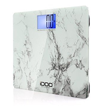 iDOO Precision Digital Bathroom Scale The iDOO Precision Digital Bathroom Scale 440lb 200kg 19 inch Oversize Jumbo Steady Platform is a very elegant looking bathroom scale with its unique white marble design, and its large over-sized platform.